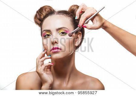 Beautiful Fashion Model Girl Whose Makeup Artist Apply Makeup, Eye Shadow