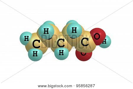 Valeric acid molecule isolated on white