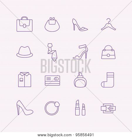 Shopping vector icons set. Fashion symbols. Interface elements. Stock illustration
