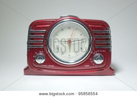Retro radio receiver with clock of the last century