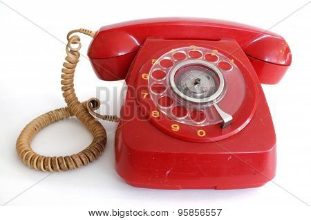 Pink red retro rotary dial telephone