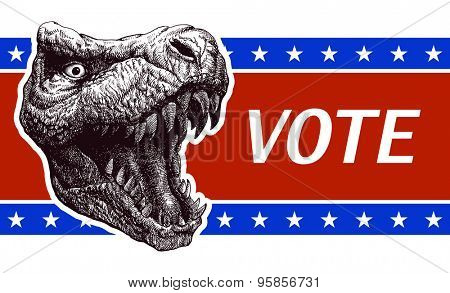 Be responsible - Presidential Election Poster with trex head. Vector illustration