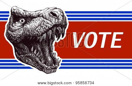 Be responsible - Election Poster with T-rex head. Vector illustration.
