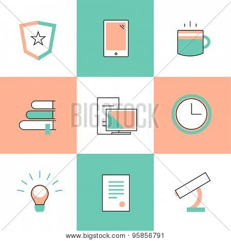 Education vector logo icons set. Graduation, school and science symbols. Stock design elements.