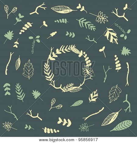Vector floral frame and set of floral elements. Vector floral wreaths made of hand drawn leaves