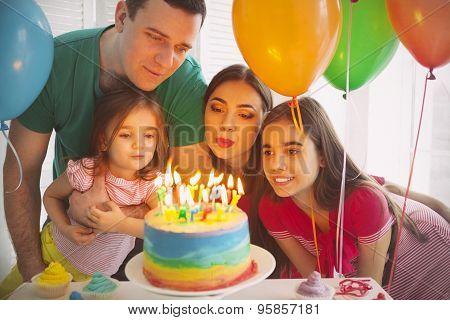 Portrait Of A Family Celebrating Birthday