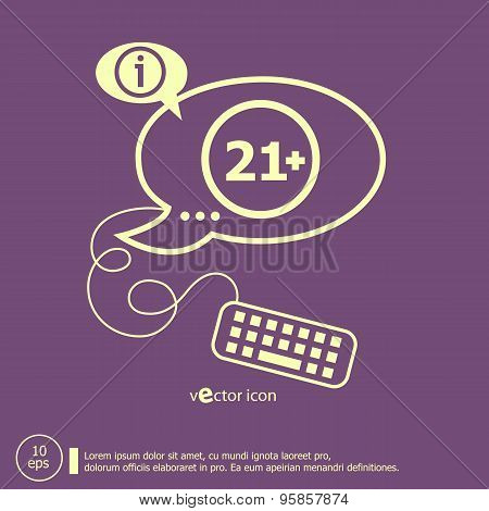 21 Plus Years Old Sign. Adults Content Icon And Keyboard Design Elements