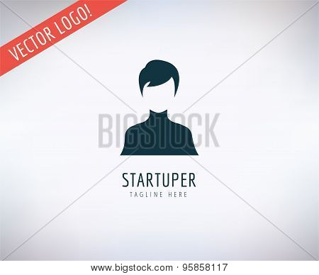 Man vector logo icon. Business, bank and lawer symbol. Stock design element