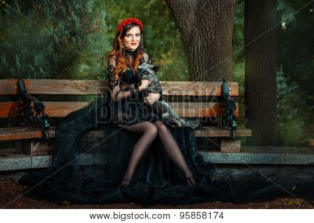 Girl On Park Bench With A Fox.