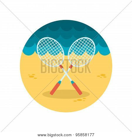 Badminton Racket Flat Icon
