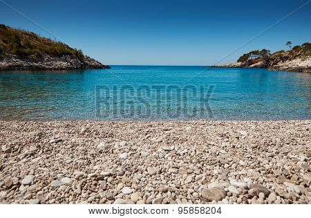 Beach In The Adriatic Sea On The Island Of Hvar