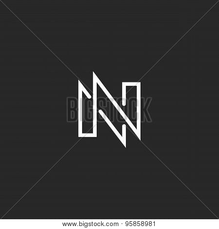 Modern Monogram Letter N Logo, Black And White Business Card Design