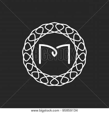 Letter M Logo Monogram Frame, Mockup For Wedding Invitation Or Design Of Emblem For Hotel