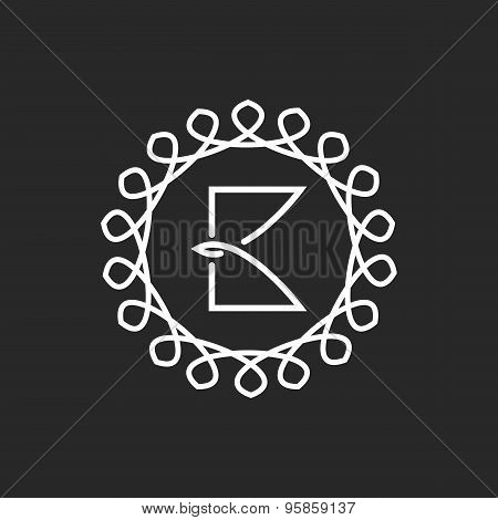 Letter B Logo Line Frame Monogram, Elegant Black And White Mockup For Business Card Emblem
