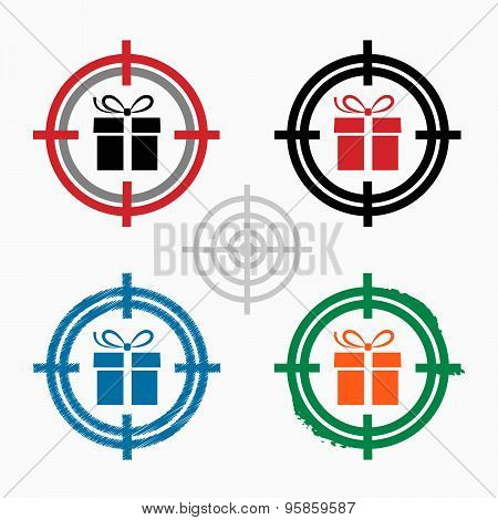 Gift Box On Target Icons Background