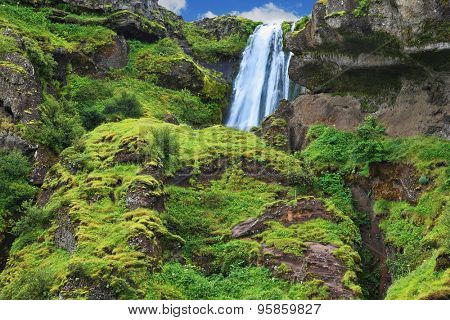 Gorgeous high waterfall near Selyalandfoss. Iceland, July