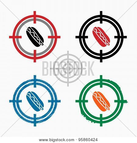 Hot Dog On Target Icons Background