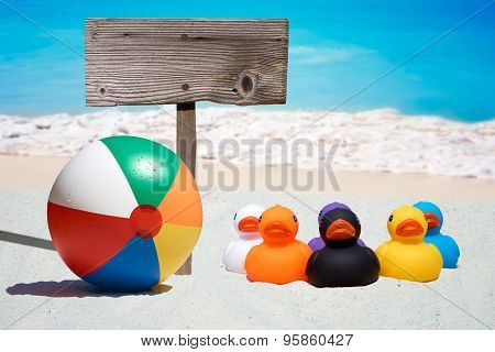 Six Rubber Ducks And Wooden Sign  On The Beach