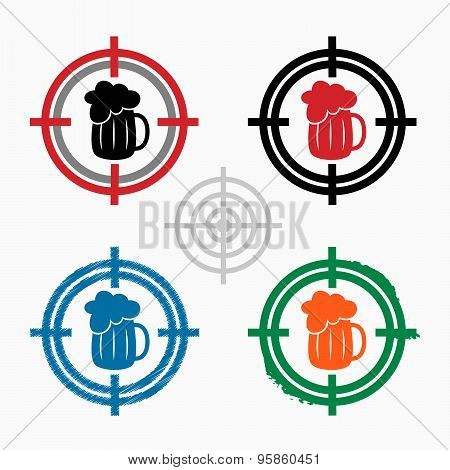 Beer Mug Icon On Target Icons Background