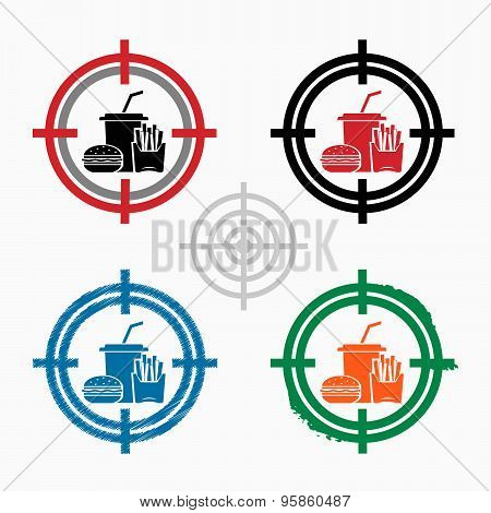 Fast Food Icon On Target Icons Background
