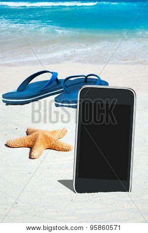 Black Smartphone And Flip Flops