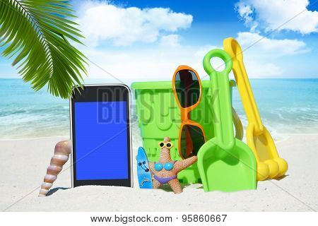 Black Smartphone And Beach Toys