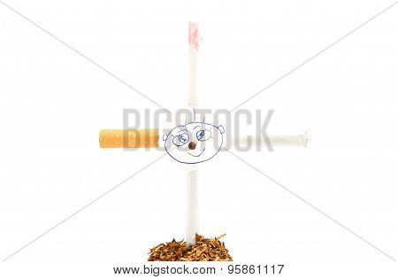 Portrait On The Cross Of Cigarettes On White