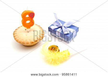 Cupcake With Eight Years Birthday Candle, Gift And Whistle