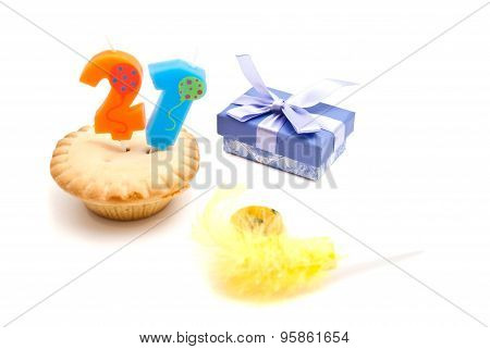 Cupcake With Twenty One Years Birthday Candle, Whistle And Gift
