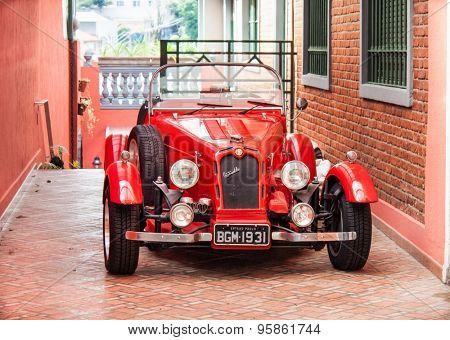 SAO PAULO, BRAZIL-APRIL 21, 2015: Alfa Romeo Nestor, rally cars tuning and car antique on April 21, 2015 in Sao Paulo, Brazil.