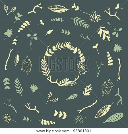 Vector floral frame and set of floral elements. Vector floral wreaths made of hand drawn leaves and