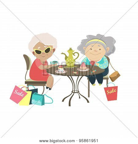 Two old women talking in a cafe after shopping