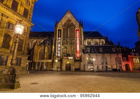 Amsterdam, Netherlands - May 7, 2015: Tourist Visit Nieuwe Kerk In Dam Square, Amsterdam