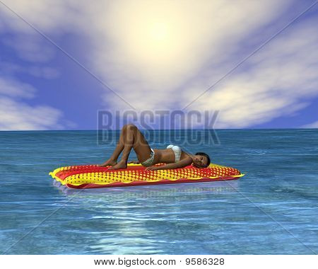 Woman sunbathing in an infinity pool