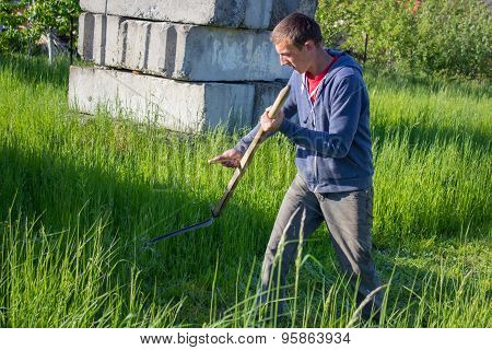 Mowing Grass In Summer