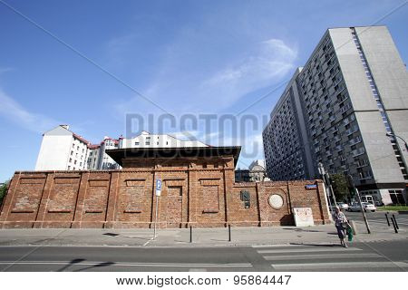 WARSAW, POLAND - SATURDAY, JUNE 6, 2015: The  remains of the main gate formerly enclosing the Jewish ghetto.