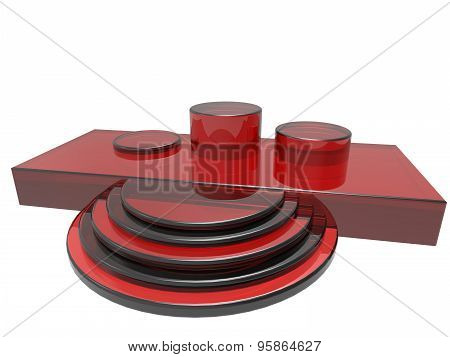 modern podium made in red color