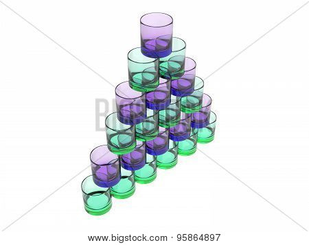 Pyramide Of Glases In Green And Blue