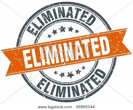Eliminated Round Orange Grungy Vintage Isolated Stamp