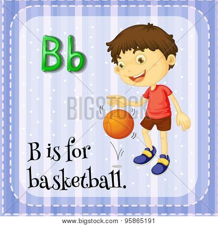 Flashcard of alphabet B is for basketball