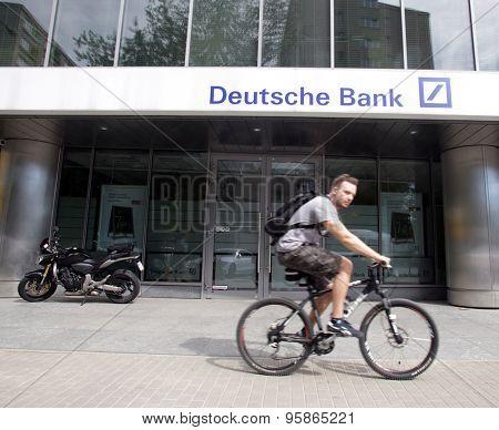 WARSAW, POLAND - SATURDAY, JUNE 6, 2015: An exterior view of Deutsche Bank Polska S A. in Warsaw