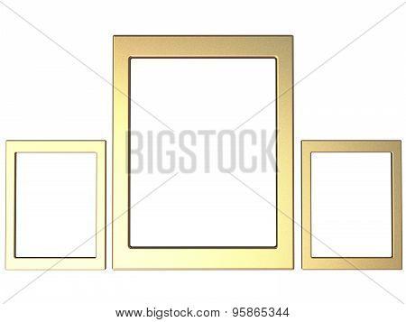 Three Textured Iphotoframes Set In Gold