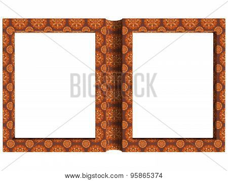 Textured Folding Photoframe Book Render In Brown Tones