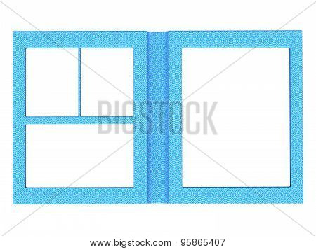 Textured Folding Photoframe Book Render In Blue