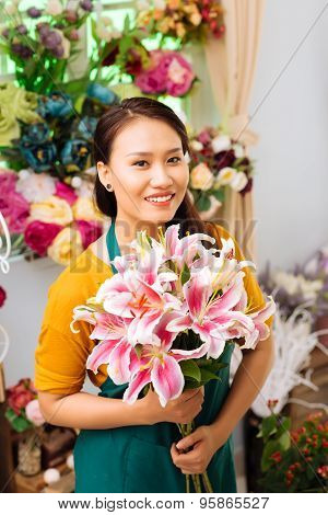 Seller With Flowers