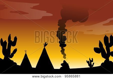 Silhouette of a desert with cactus trees, tents and bonfire
