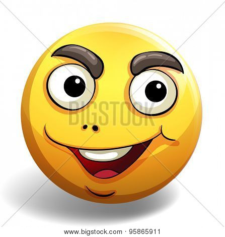 Yellow emoticon with motivated facial expression