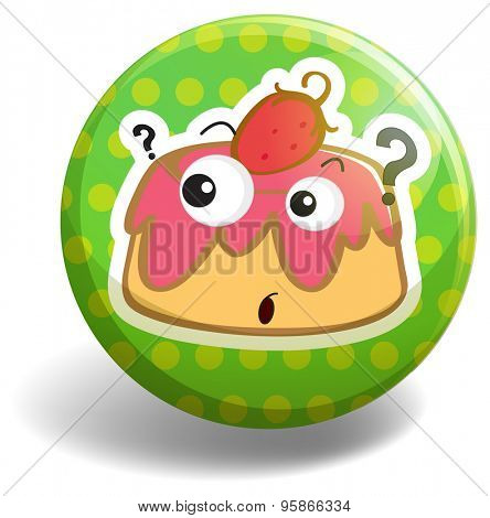 Circular badge with a picture of custard cake and strawberry