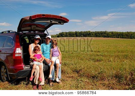 Family vacation, car trip on summer, happy parents travel with kids and having fun