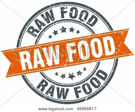 Raw Food Round Orange Grungy Vintage Isolated Stamp